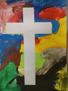 creative lent ideas for families, simple easter cards, preschoolers, lent, easter, cross, paint