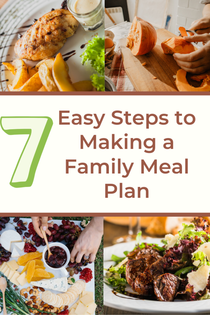 7 Easy Steps to Making a Family Meal Plan! This blog post is your guide to making family meal planning simple, even if you've never done it before! Eat healthier, cheaper and better!
