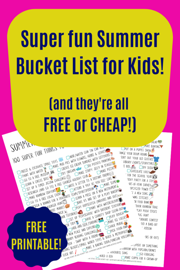 100 super fun, awesome summer activities for kids which are FREE or CHEAP. Also click to get your FREE bucket list printable! #kids #summer #bucketlist #activities #free